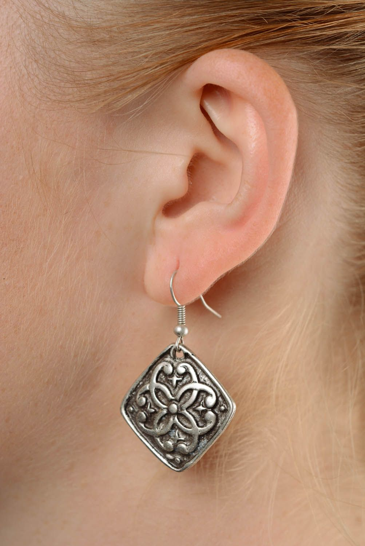 Handmade metal pendant earrings  photo 3