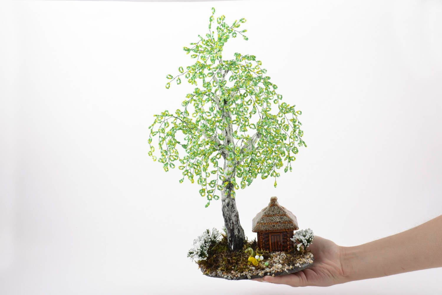 Handmade beaded birch tree on stand with small ceramic house and cat figurine photo 2