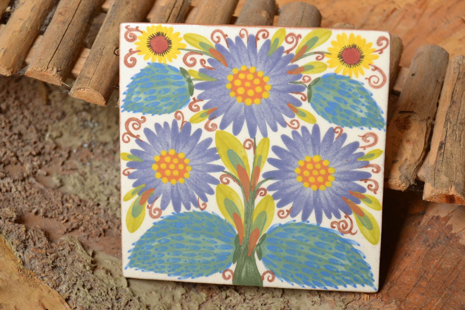 Handmade decorative ceramic tile with floral ornament painted with engobes photo 2