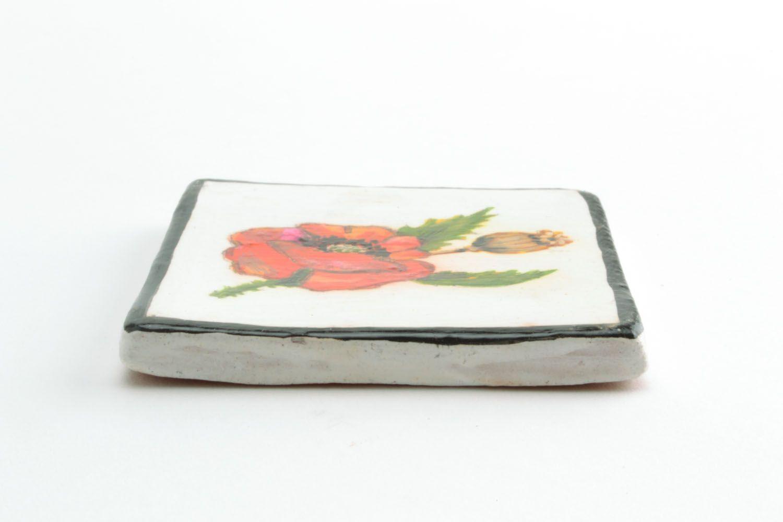 Homemade ceramic fridge magnet Poppy photo 3