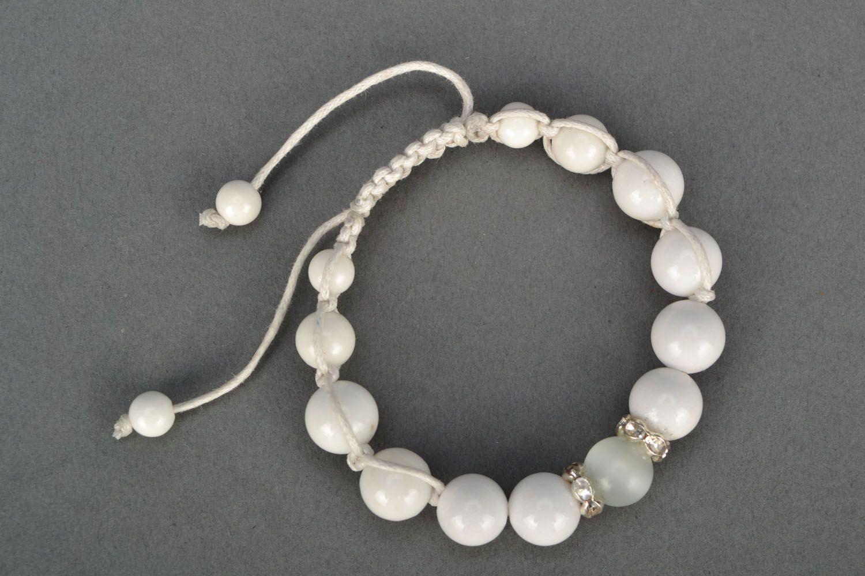 White bracelet with natural stones photo 2