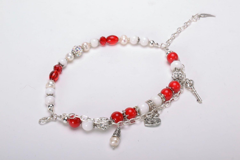 Double wrap bracelet with coral photo 2