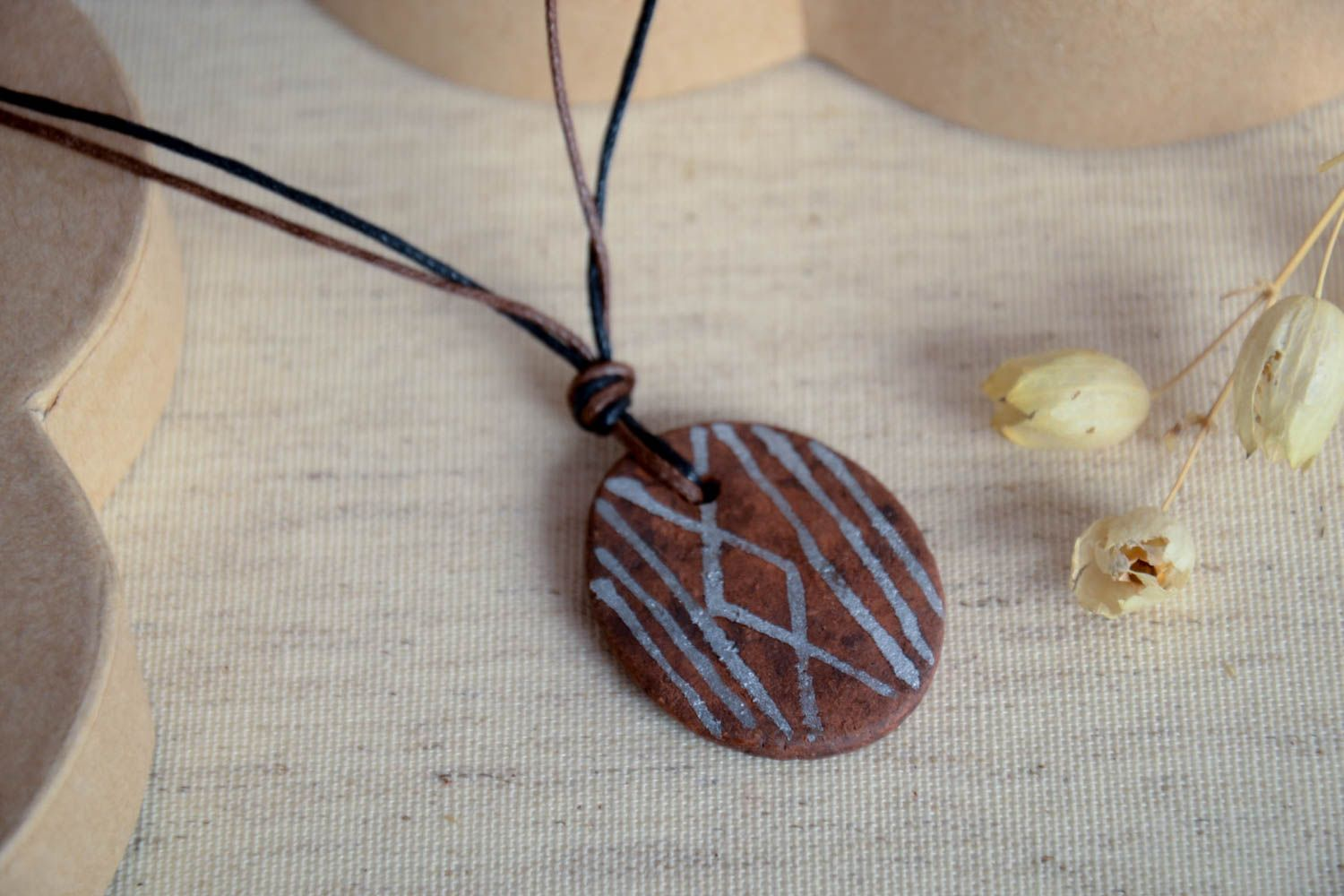 Handmade ceramic pendant unusual stylish accessory beautiful female pendant photo 1