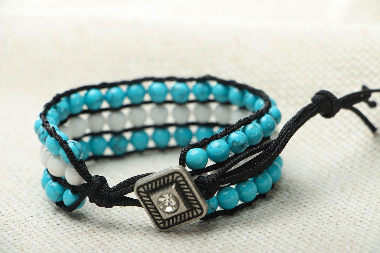 Blau weißes Armband mit Achat und Türkis foto 3