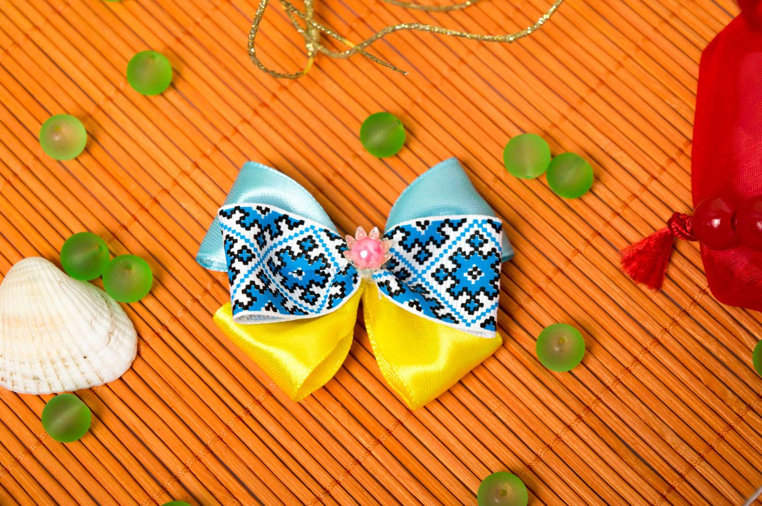 Beautiful handmade textile barrette bow hair clip childrens hair bow ideas photo 1
