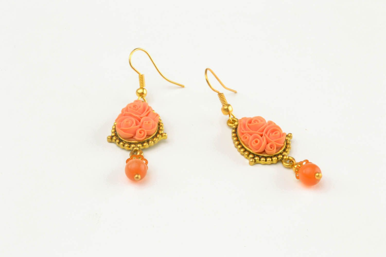 Polymer clay floral earrings  photo 3