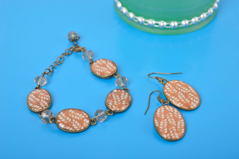 Handmade lovely earrings stylish cute jewelry set unusual designer bracelet photo 1