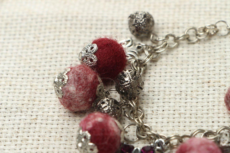 Felted wool bracelet Garnet Mood photo 3