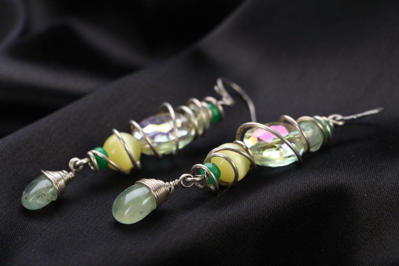 dangle earrings Silver earrings with cat's eye stone - MADEheart.com
