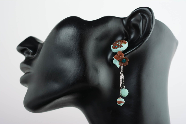 Polymer clay cuff earrings photo 1