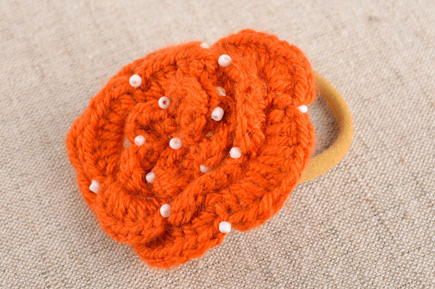 Handmade flower hair scrunchy hair accessories crochet barrette present for girl photo 1