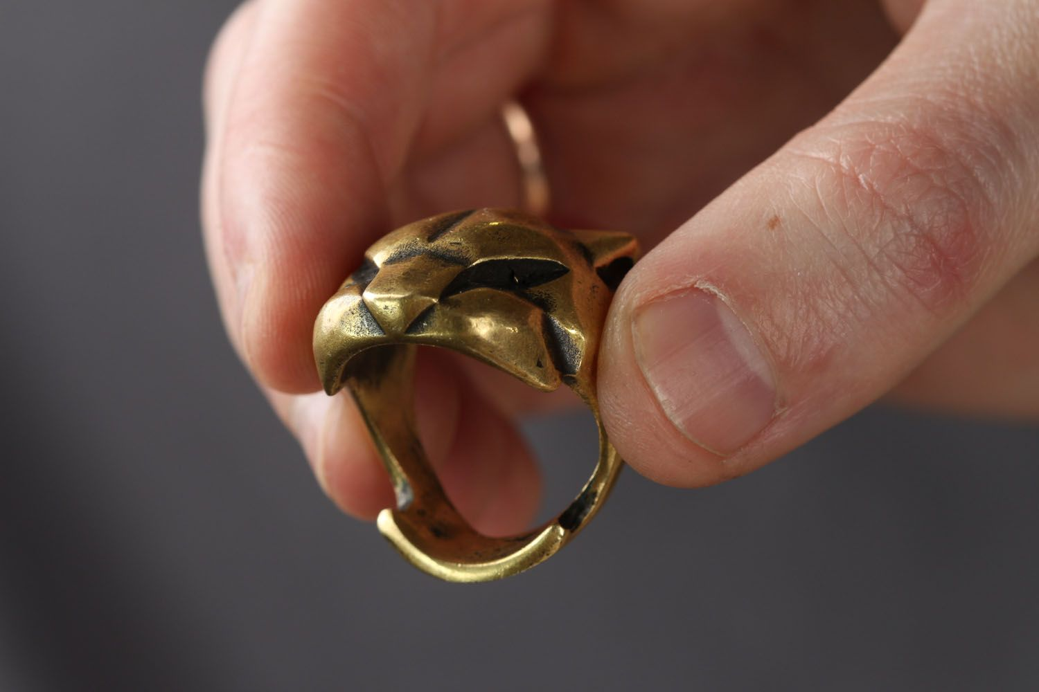Homemade bronze ring Panther photo 3