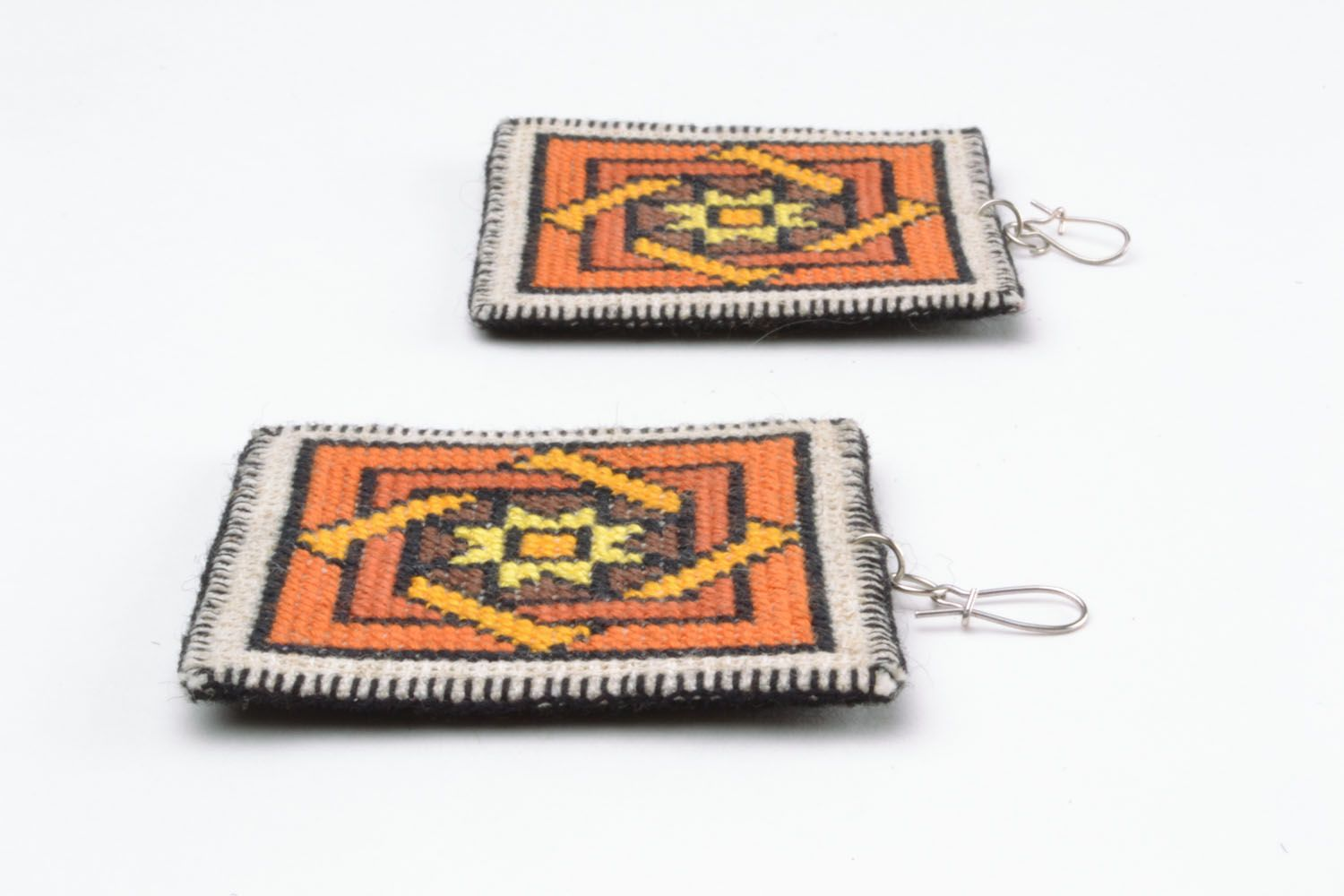 Unique embroidered earrings photo 3