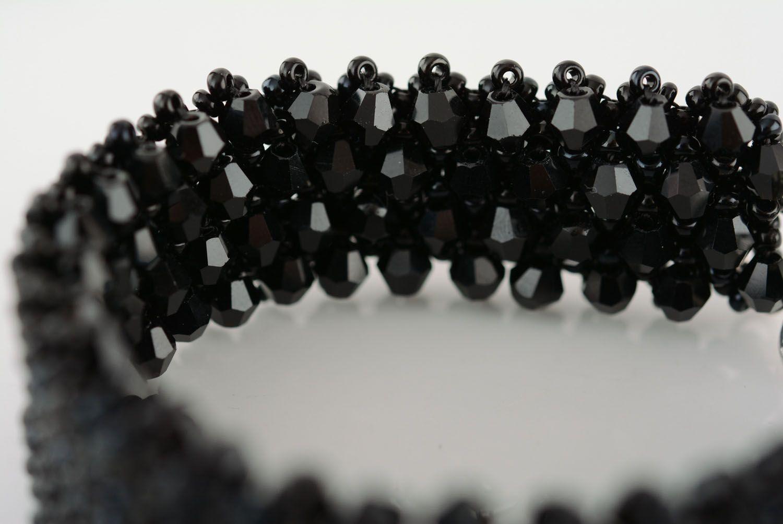 beaded bracelets Wide black bracelet - MADEheart.com