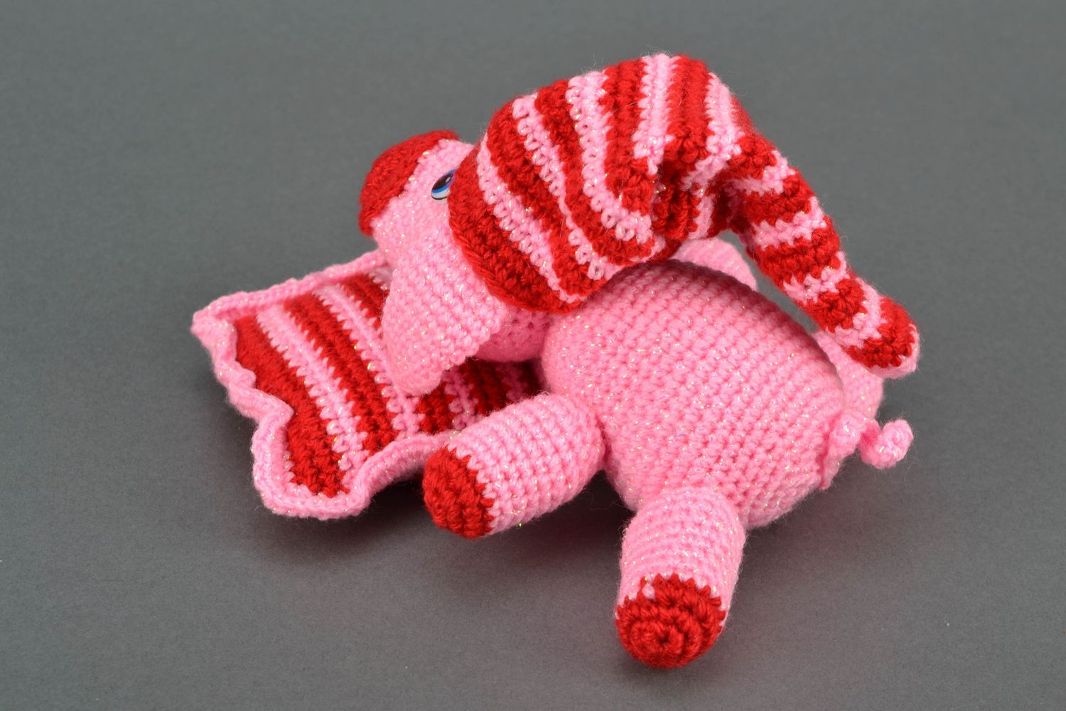 Soft crochet toy Pink Pig on Pillow photo 4