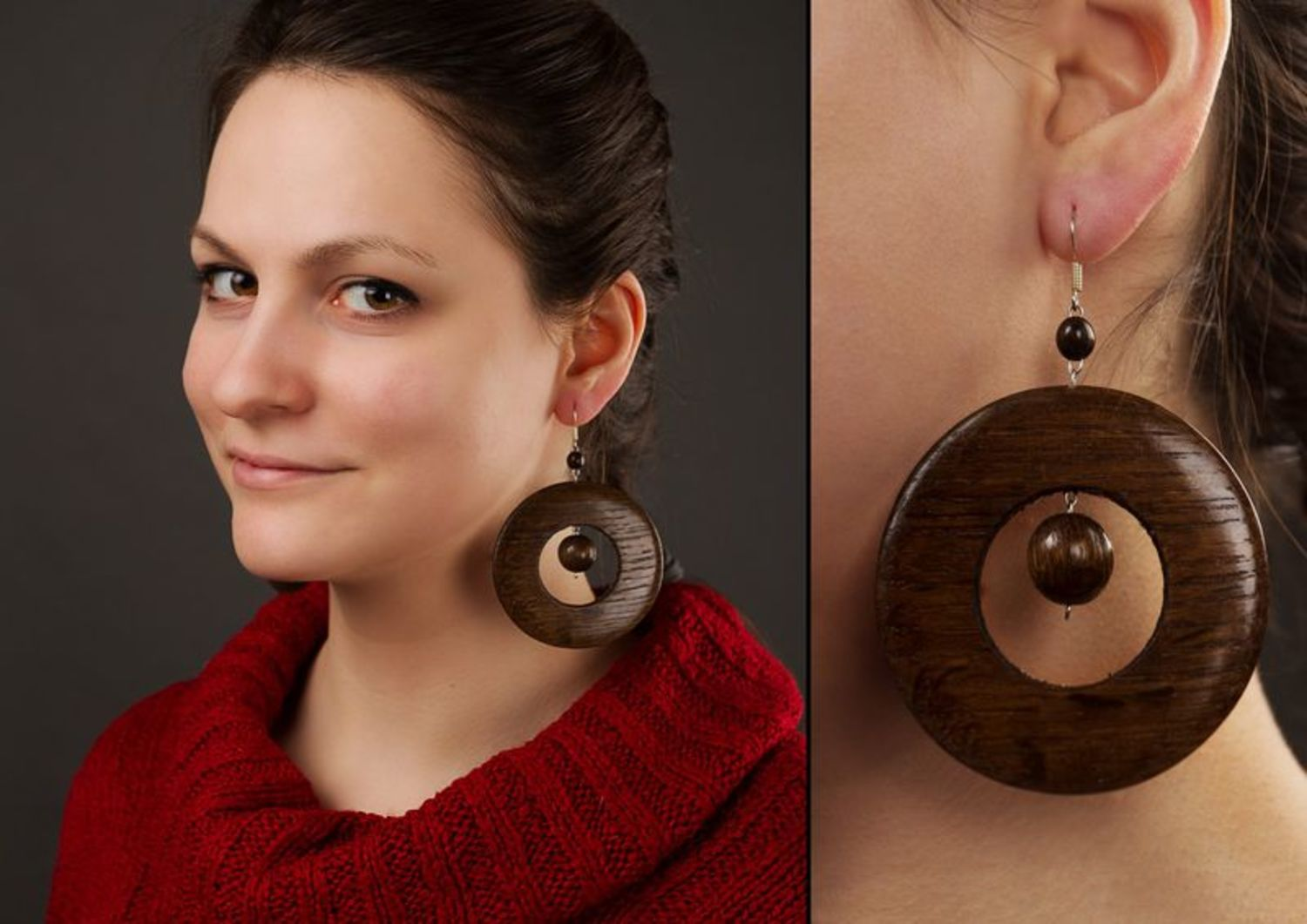 Round earrings made of wood photo 2