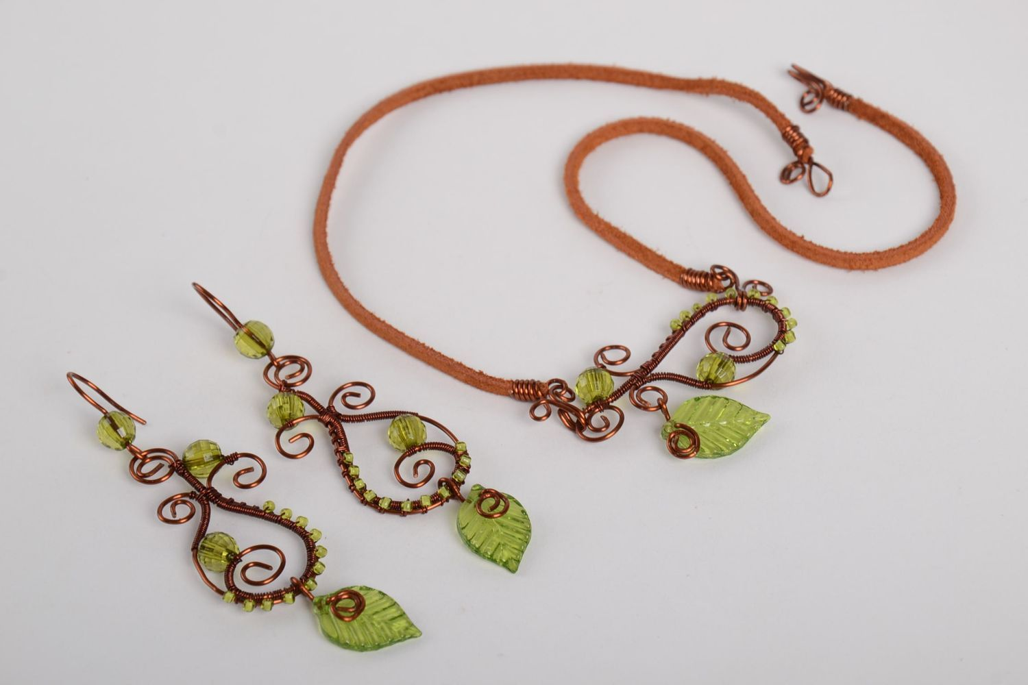 Handmade jewelry set of 2 items copper accessories for women gift ideas photo 5