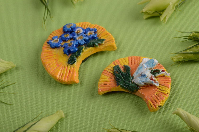 Set of ceramic fridge magnets handmade painted souvenirs home decor 3 pieces photo 1