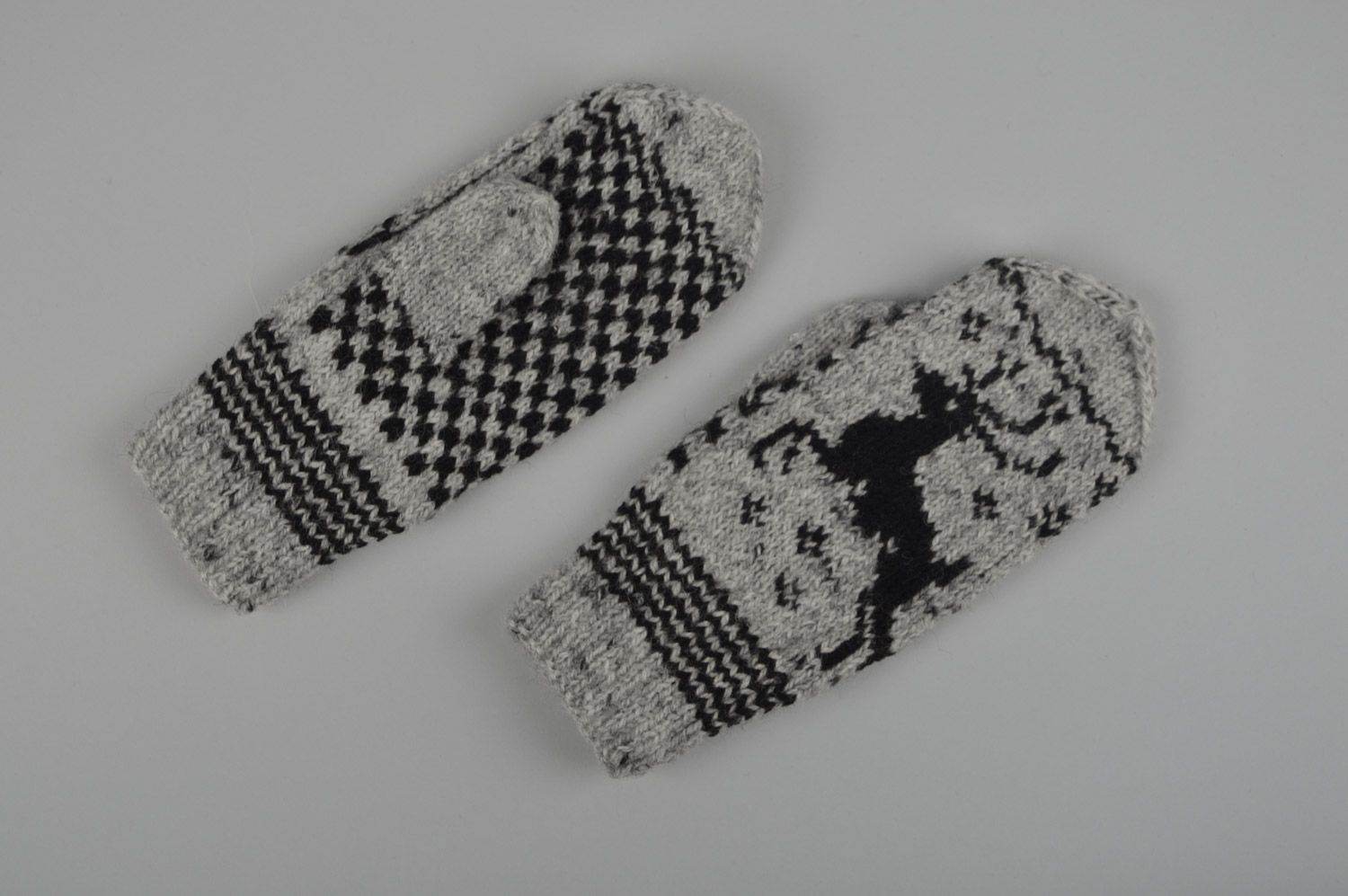 Handmade warm gray mittens with ornament knitted of sheep wool for women photo 4