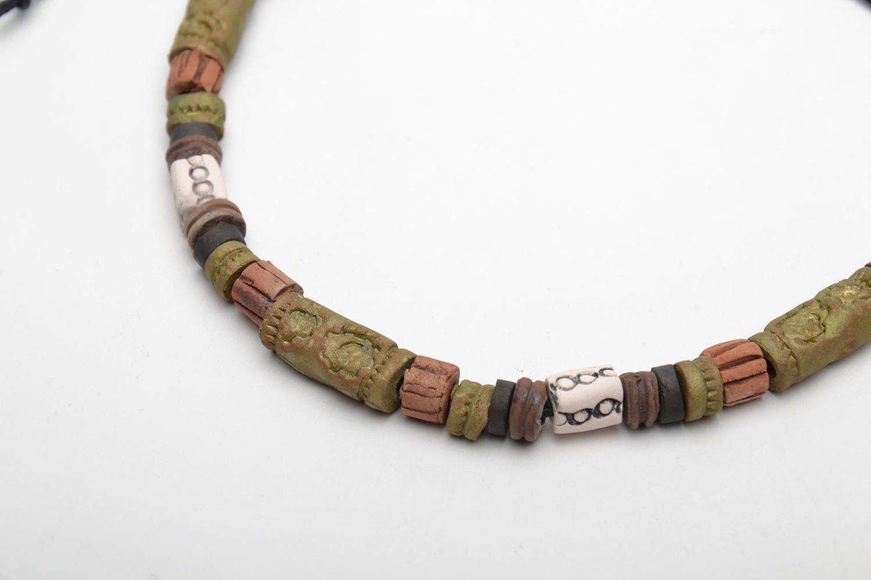 Глиняный браслет в этническом стиле фото 5