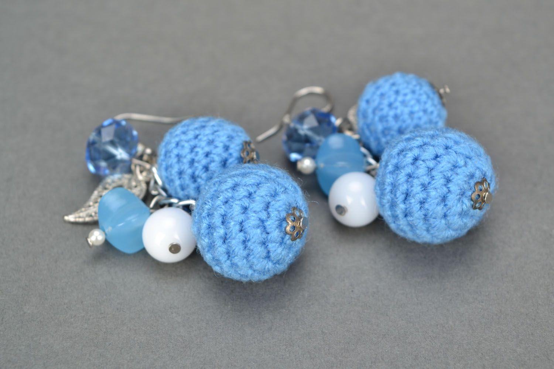 Crochet bead earrings photo 5