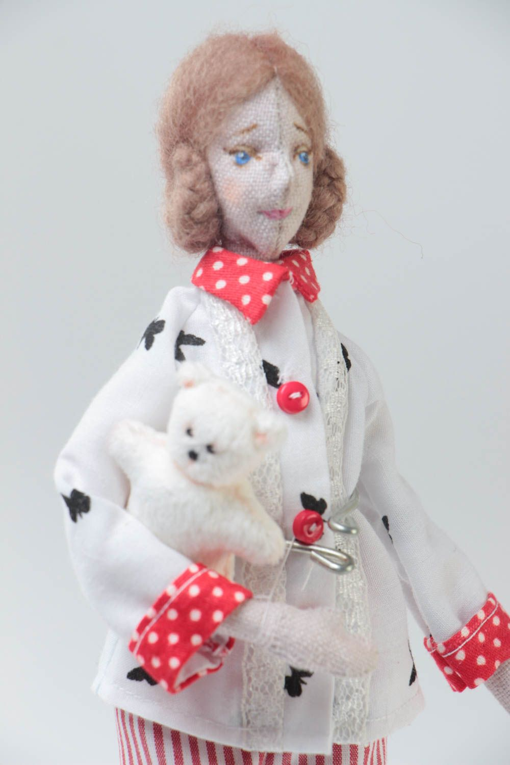 Handmade designer collectible fabric soft doll with white toy bear in slippers photo 3