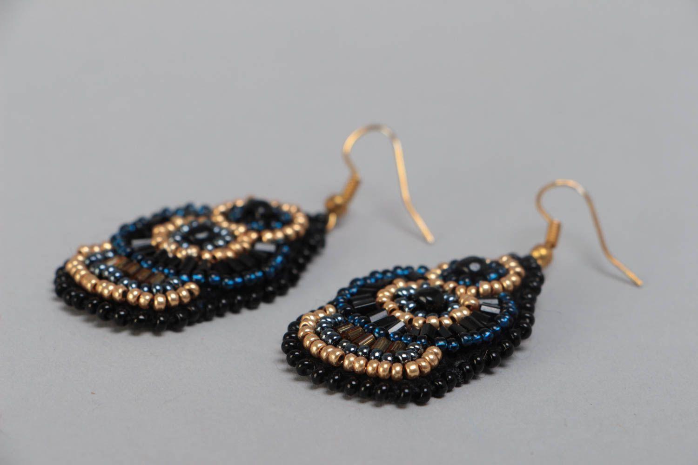 Large handmade designer woven beaded earrings on leather basis photo 3