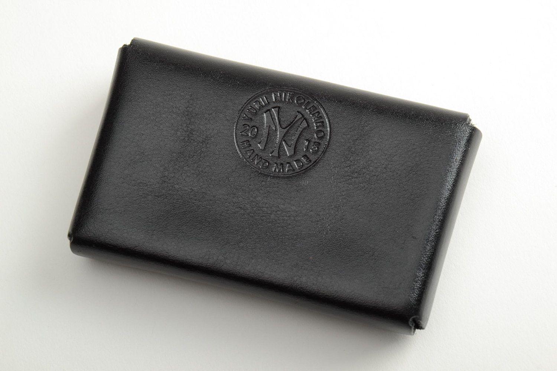 Porte Monnaie Portefeuilles Cartes De Visite En Cuir Noir Naturel Original Fait