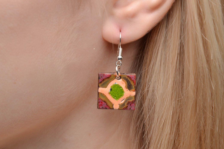 Ethnic ceramic earrings photo 2