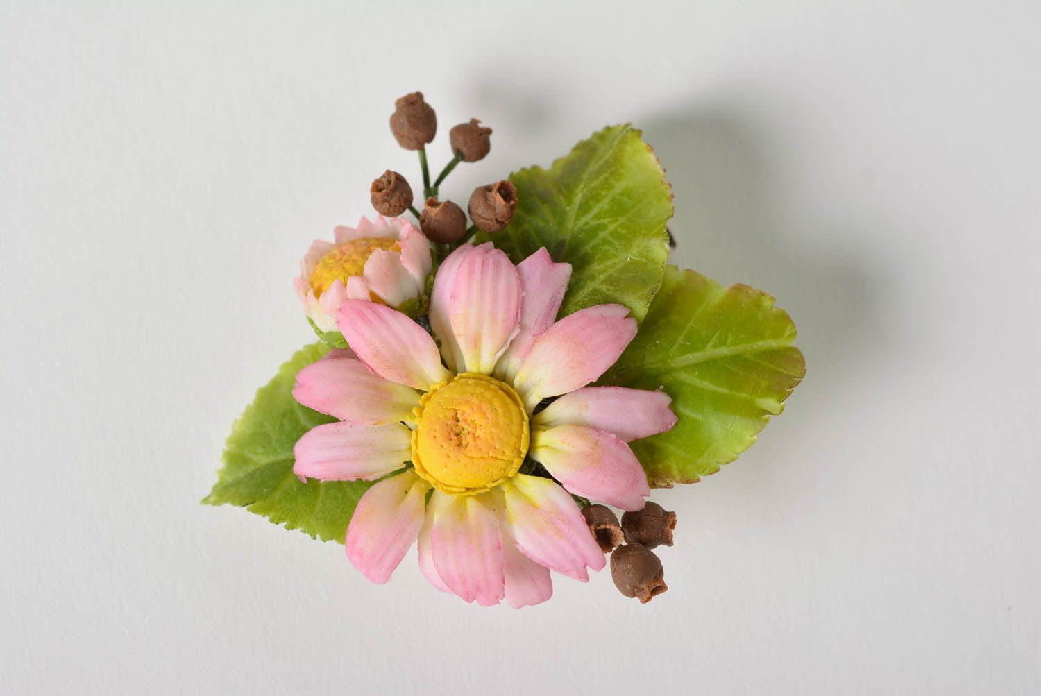 Handmade Japanese polymer clay brooch in the shape of tender floral composition photo 5