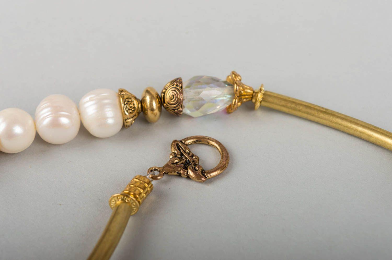 collares de piedras naturales Collar de latón con piedras naturales perlas hecho a mano bisutería de