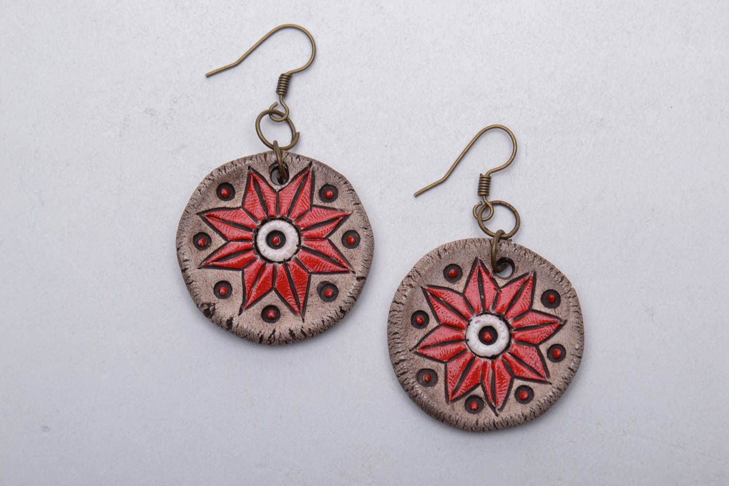 Ceramic earrings with charms photo 3