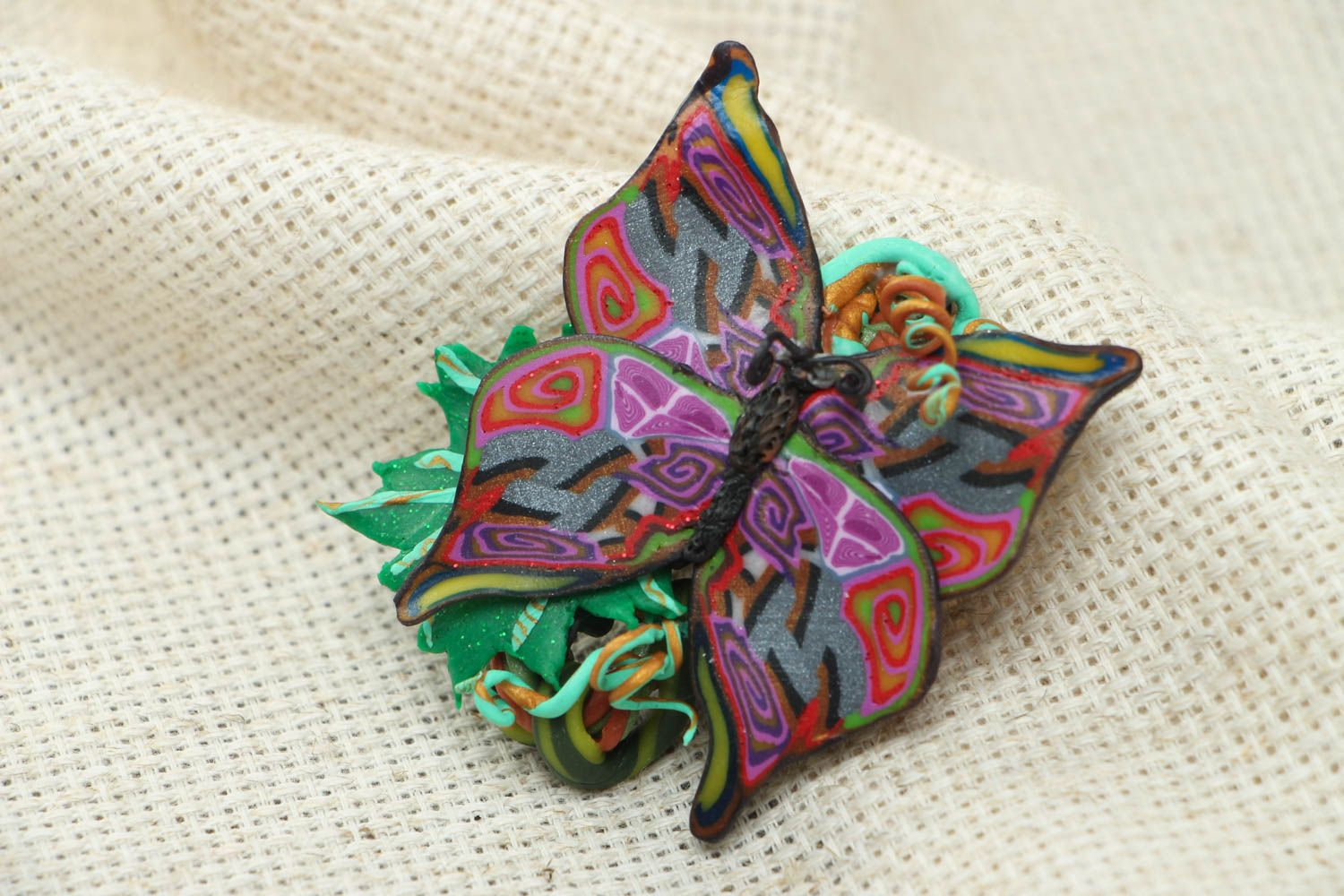 Women's polymer clay brooch in the shape of butterfly photo 1
