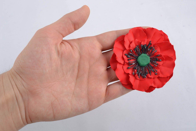 Ribbon flower for hair clip Poppy photo 4
