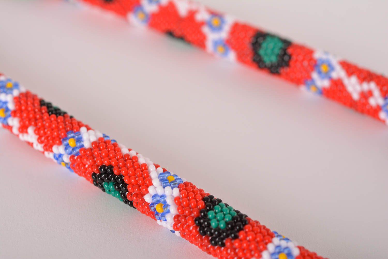 Handmade jewelry stylish necklace beaded cord necklase designer accessory  photo 3