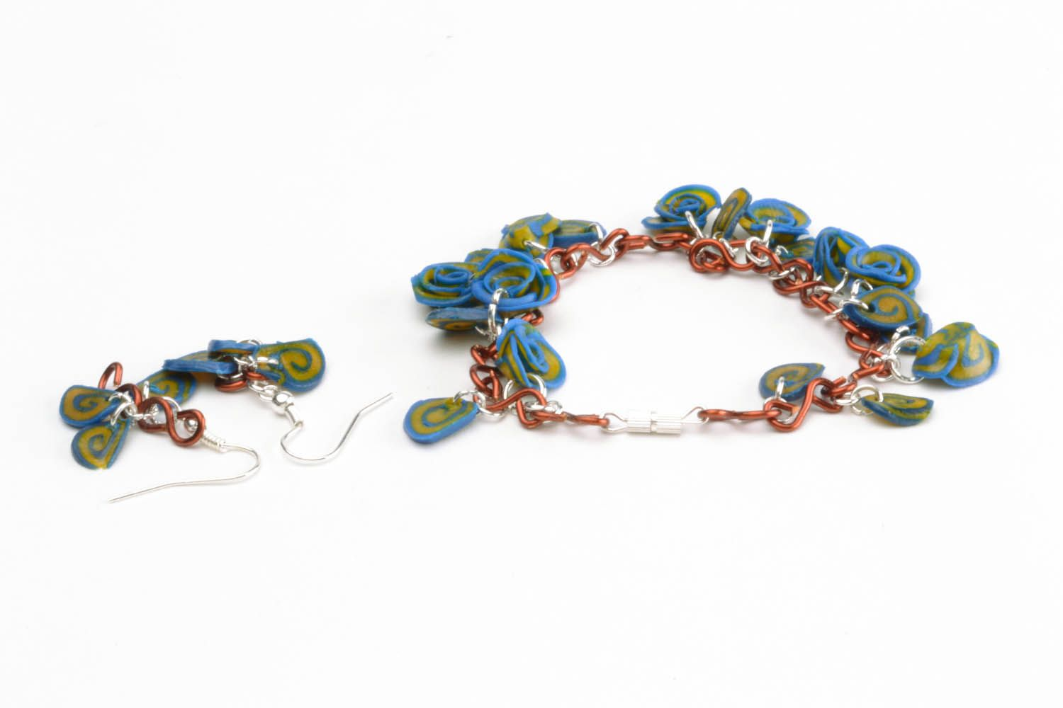 Polymer clay earrings and bracelet photo 3