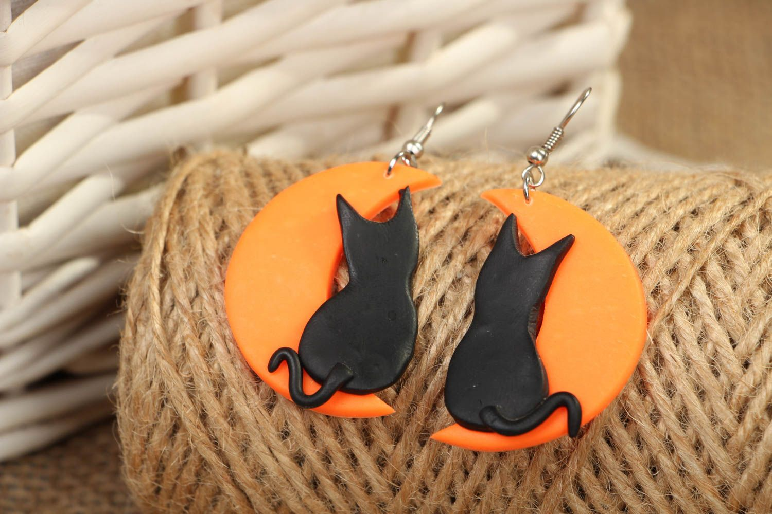 Earrings with plastic charms Cats on the Moon photo 4