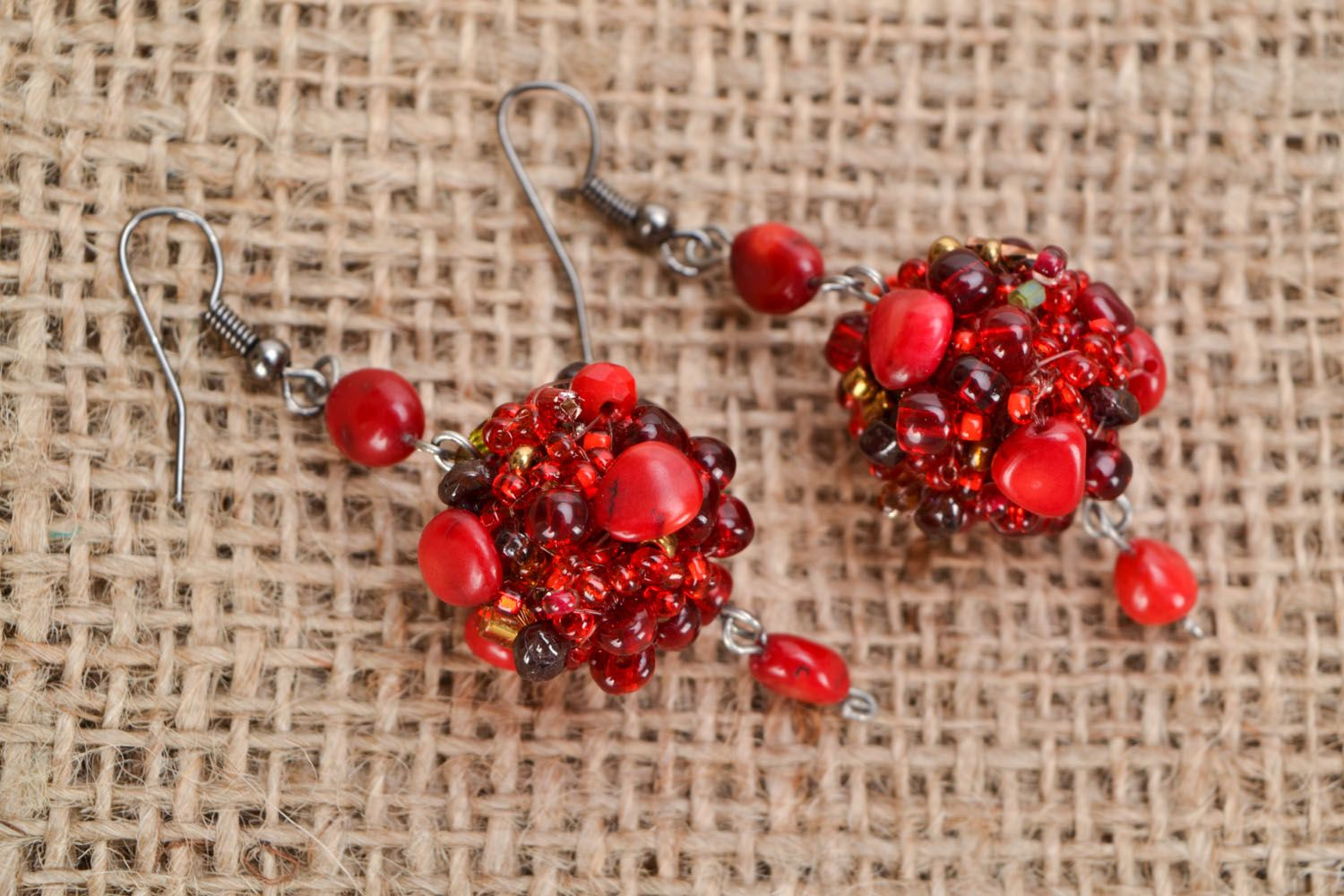 Earrings with coral and amber photo 1