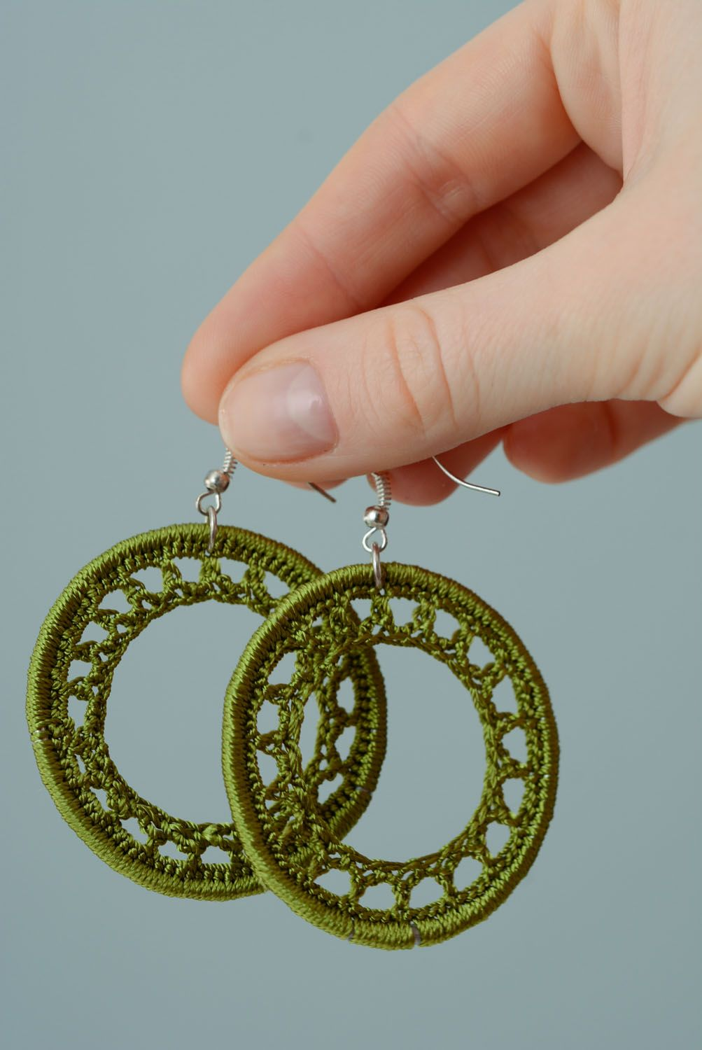 Homemade woven earrings photo 3