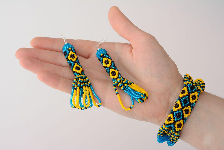 Blau gelbes Schmuckset aus Glasperlen Collier und Ohrringe foto 5