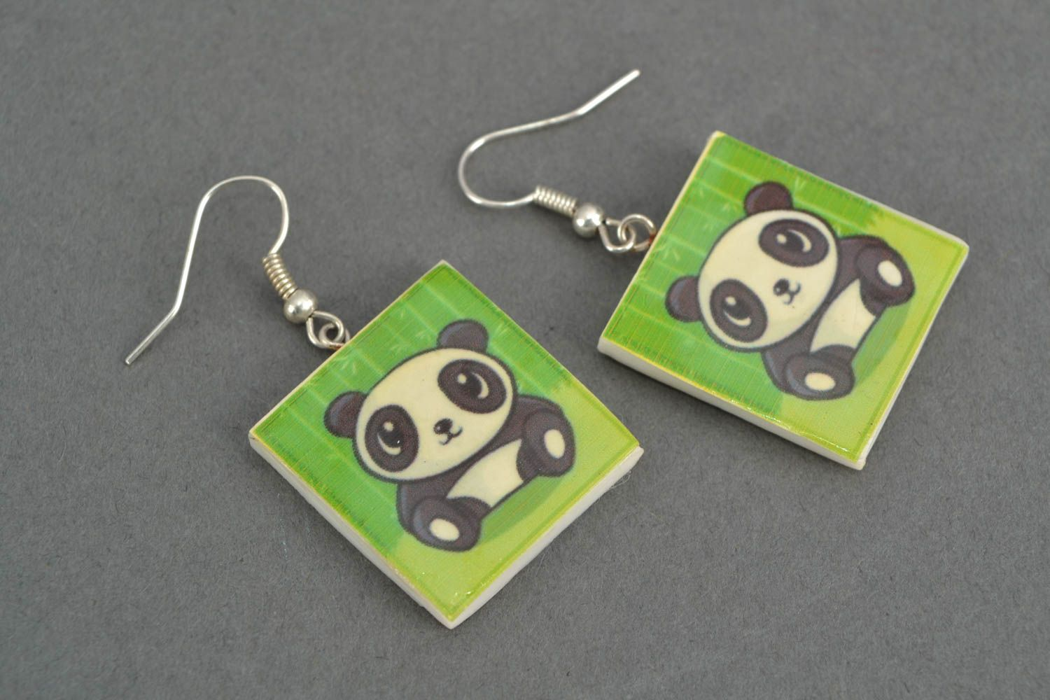 Polymer clay earrings with panda image photo 3
