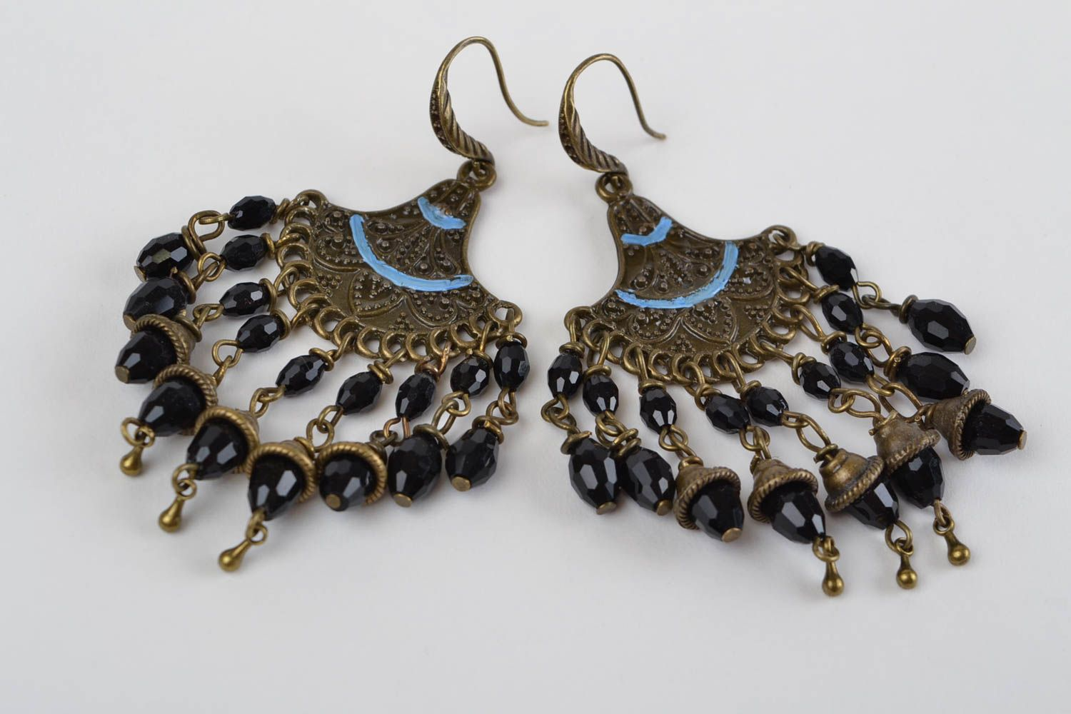 Handmade massive earrings accessory in Eastern style beautiful earrings photo 7