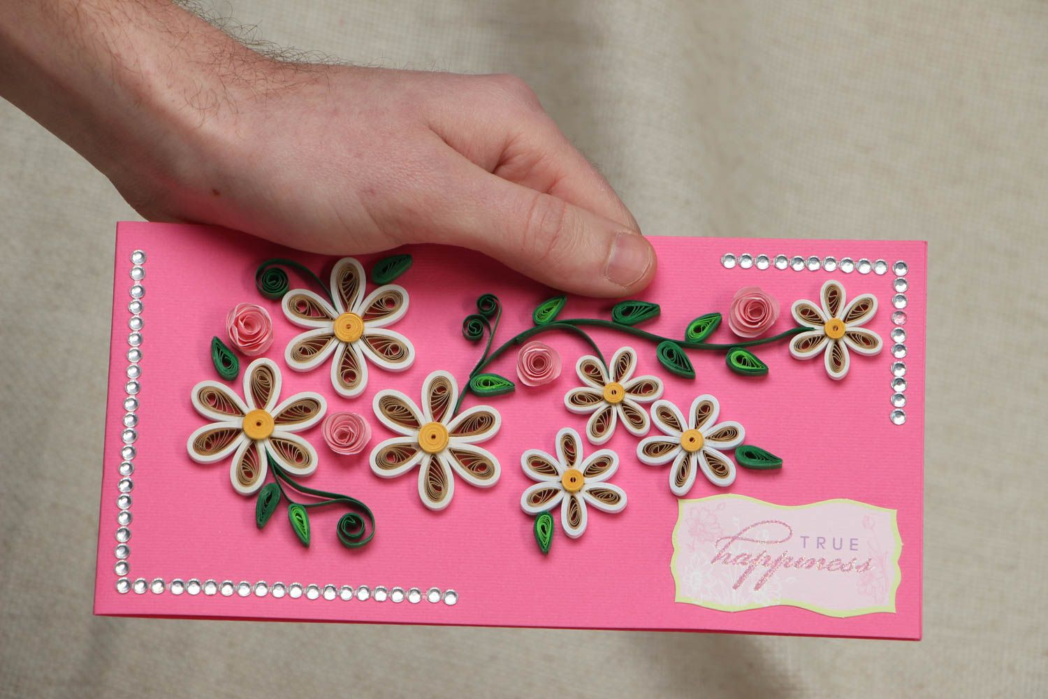 Quilling greeting card with flowers photo 4