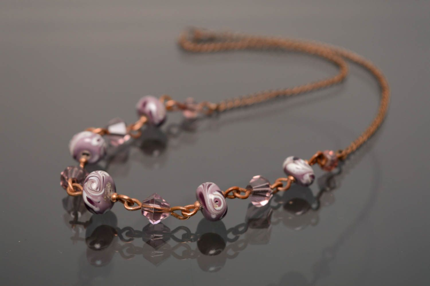 Copper necklace with lampwork beads photo 1