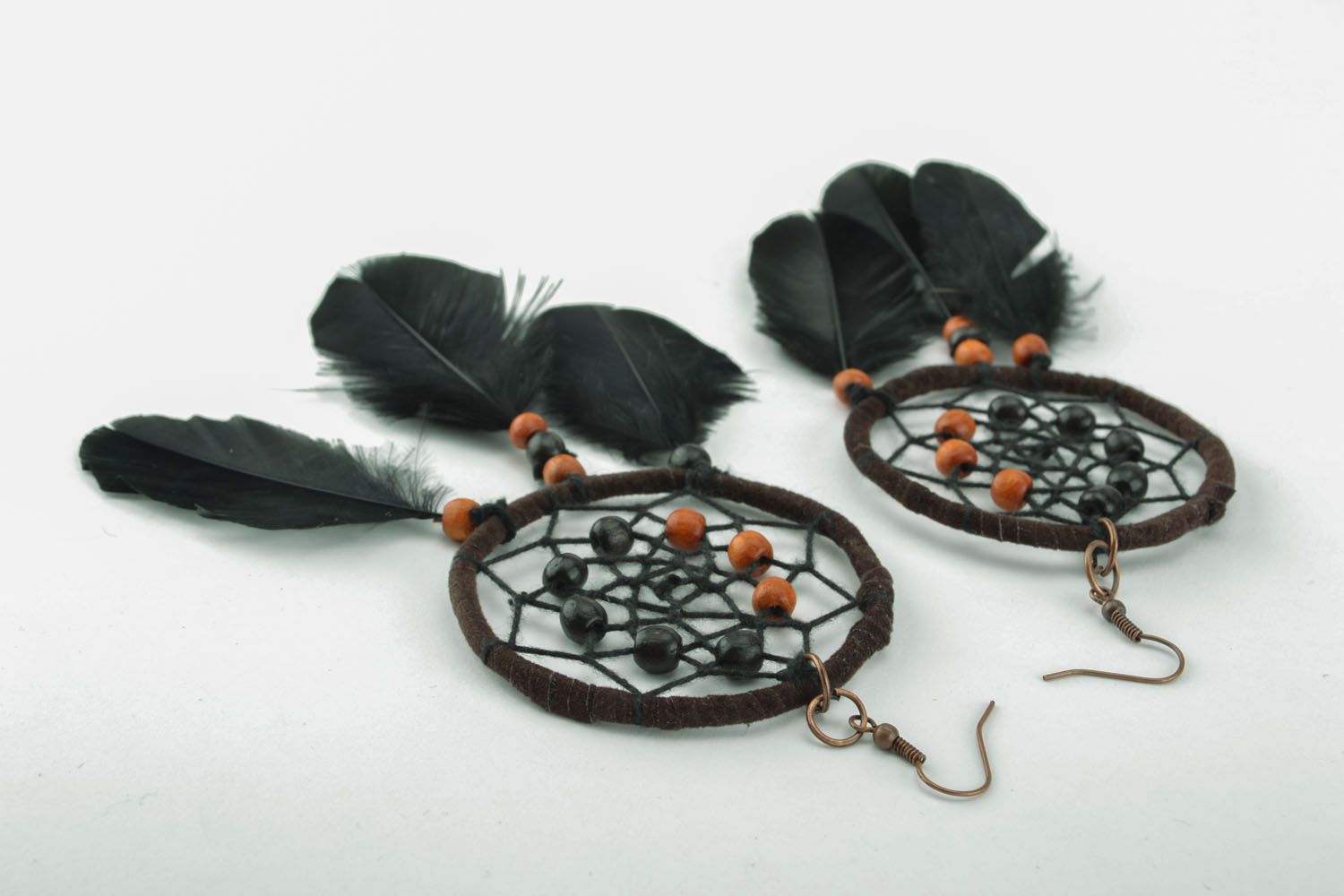 Homemade earrings in the shape of Dreamcatchers photo 4