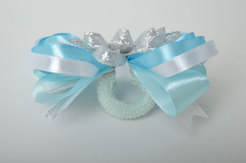Handmade blue scrunchy stylish satin bow barrette scrunchies for children photo 4