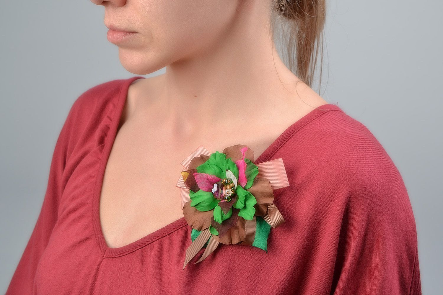 Handmade brown and green hair clip brooch with foamiran flowers and ribbon  photo 1