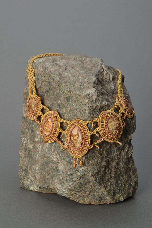 Massive woven necklace with jasper photo 1
