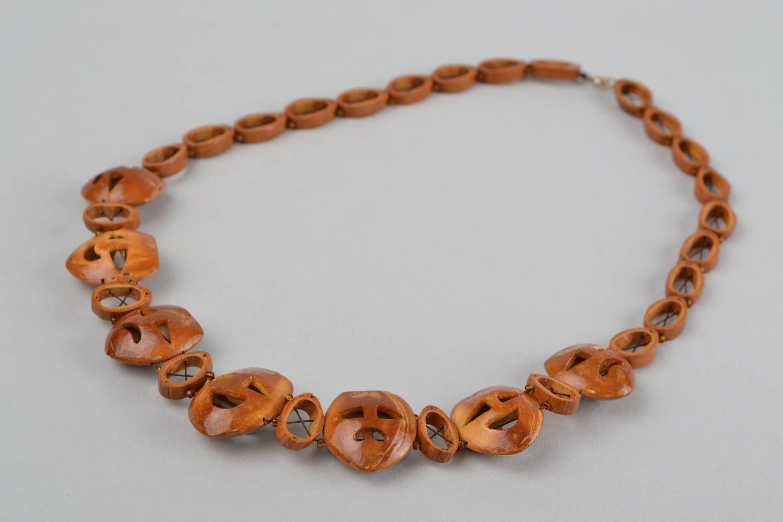collar de madera Collar de pepas de frutas hecho a mano bisutería de moda regalo original