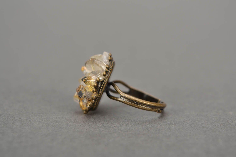Metal ring with quartz  photo 3